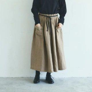 MAGALI | ブラッシュド・ベルギーリネン ロングスカート (beige) | ボトムス 送料無料 マガリ シンプル スカート