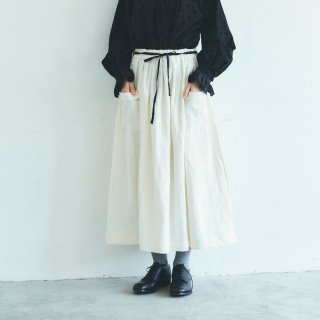 MAGALI | ブラッシュド・ベルギーリネン ロングスカート (white) | ボトムス 送料無料 マガリ シンプル スカート
