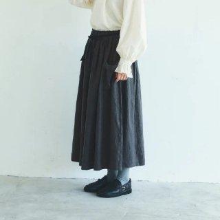 MAGALI | ブラッシュド・ベルギーリネン ロングスカート (charcoal) | ボトムス 送料無料 マガリ シンプル スカート