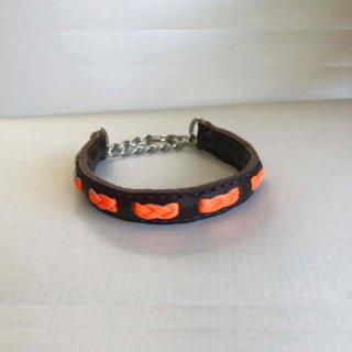 小型犬用手縫いダークブラウン×オレンジみつあみカラー