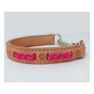 小型犬用手縫いナチュラルショッキングピンクブレードカラー