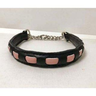 小型犬用手縫いブラック×ピンクストライプカラー
