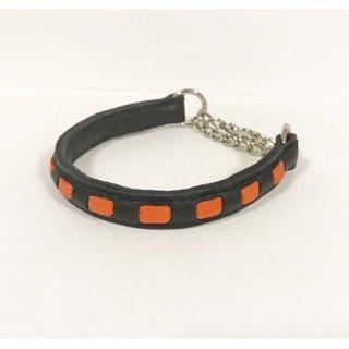 小型犬用手縫いブラック×オレンジストライプカラー