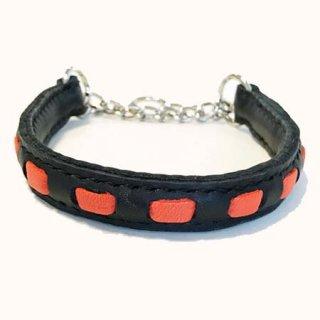 大型犬用手縫いブラック×オレンジストライプカラー