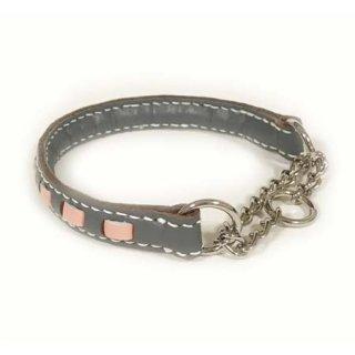 小型犬用手縫いグレー×ピンクストライプカラー