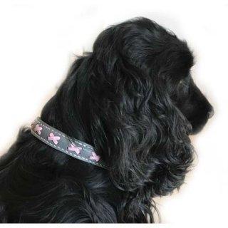 中型犬用手縫いグレー×ピンククロスカラー