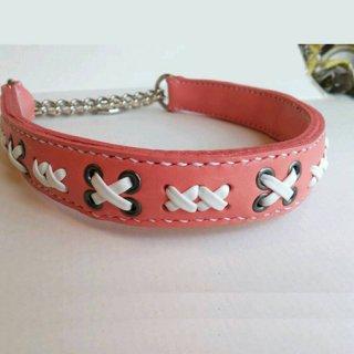 中型犬用手縫いパステルコーラルピンクカラー