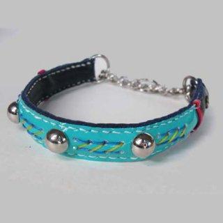 小型犬用手縫いエナメルブルーカラー