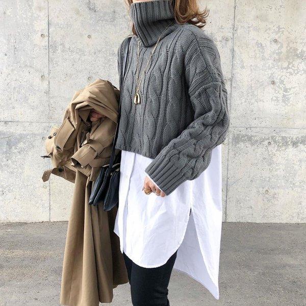 タートルネック オーバーサイズ セーター 長袖 ショート丈 ニット