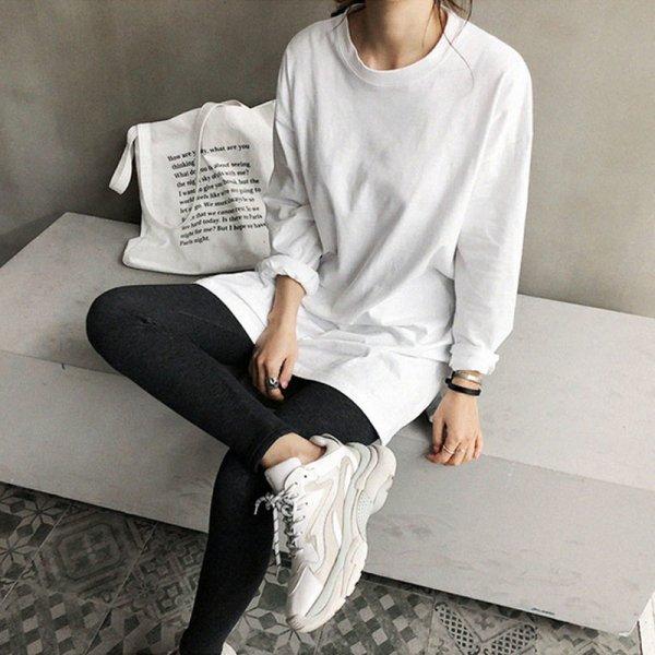 シンプル オーバーサイズ スリットエンド ロングTシャツ
