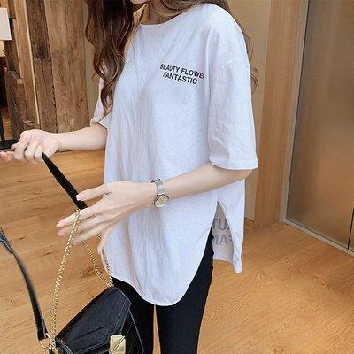 英字 バックプリント スリット オーバーサイズ 半袖 Tシャツ