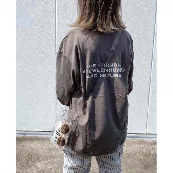 オーバーサイズ バックプリント ルーズ 長袖 Tシャツ
