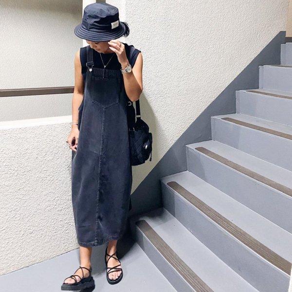 デニム ロング丈 ゆったり カジュアル ジャンパー サロペットスカート