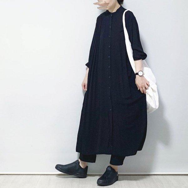 ロング丈 長袖 体型カバー シャツワンピース