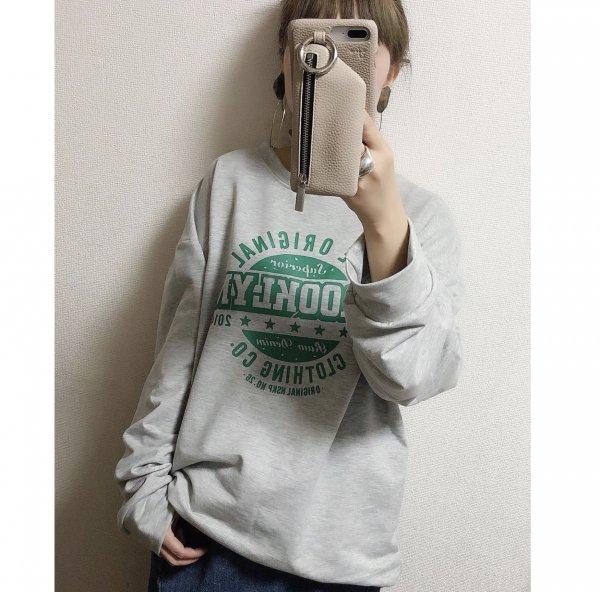 英字プリント 長袖 オーバーサイズ ロゴ ロングTシャツ