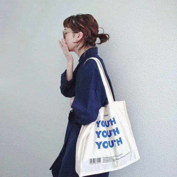 スクエア 英字 買い物袋 シンプル エコバッグ
