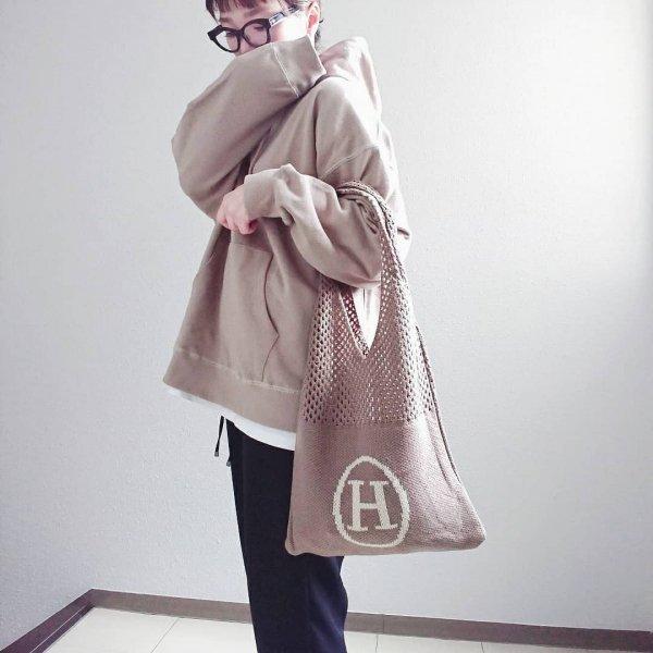 大容量 ニット 伸縮性 英字 トート メッシュ エコ ハンドバッグ
