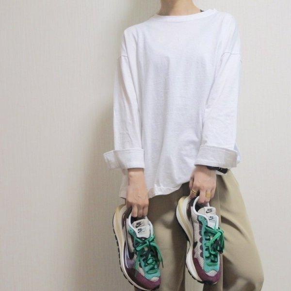 無地 長袖 シンプル カジュアル ロングTシャツ