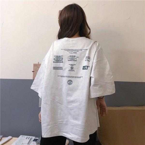 オーバーサイズ 英字 半袖 バックプリントTシャツ