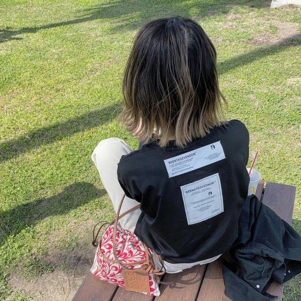バックプリント ロゴ ポケット ロングTシャツ