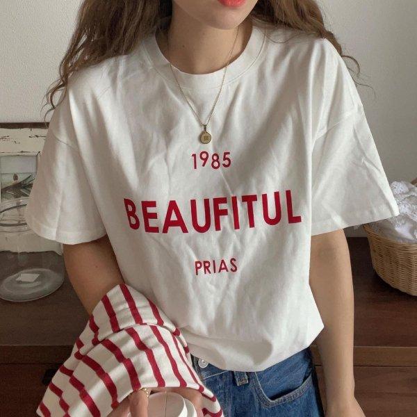 ロゴ ラウンドネック オーバーサイズ Tシャツ