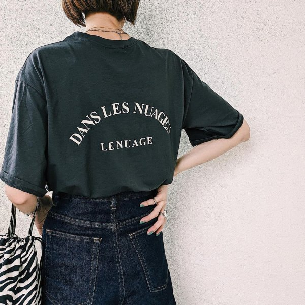 バックプリント ロゴ カジュアル Tシャツ