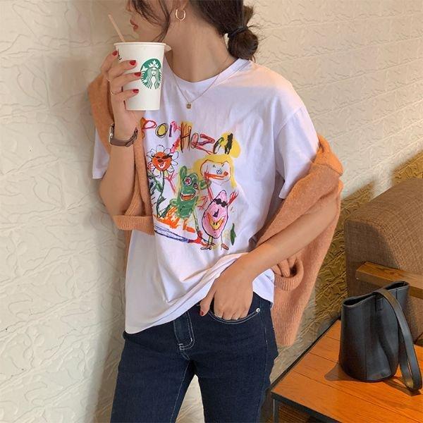 プリント カジュアル 落書き風 Tシャツ