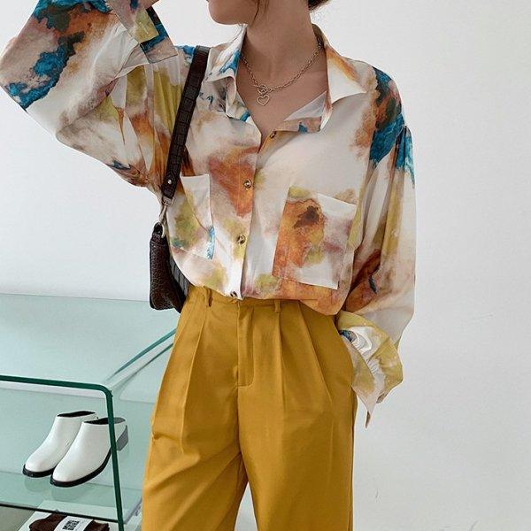 水彩 カラフル 長袖 オーバーサイズ シャツ
