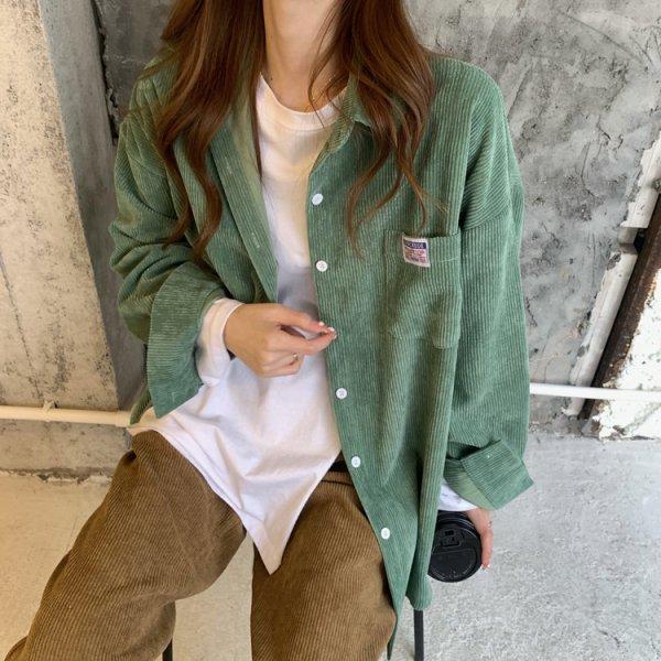 コーデュロイ ロング オーバーサイズ シャツ