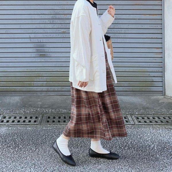 チェック柄 フレア ロングスカート