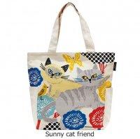 オーガニックコットンバッグ 「Sunny cat friend」