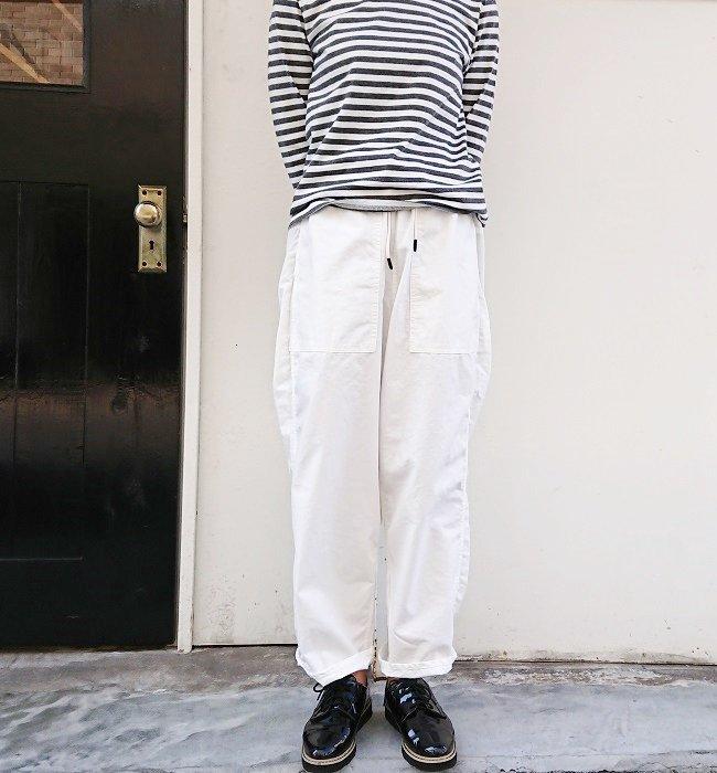 MANUAL ALPHABET DENIM UTILITY EASY PANTS WHITE