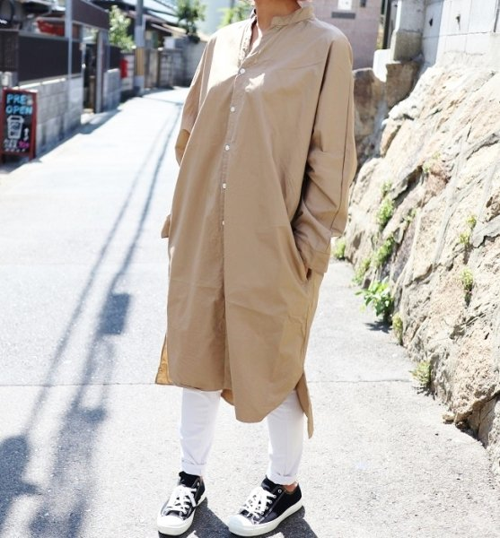 MANUAL ALPHABET TWILL DOLMAN SHIRT DRESS