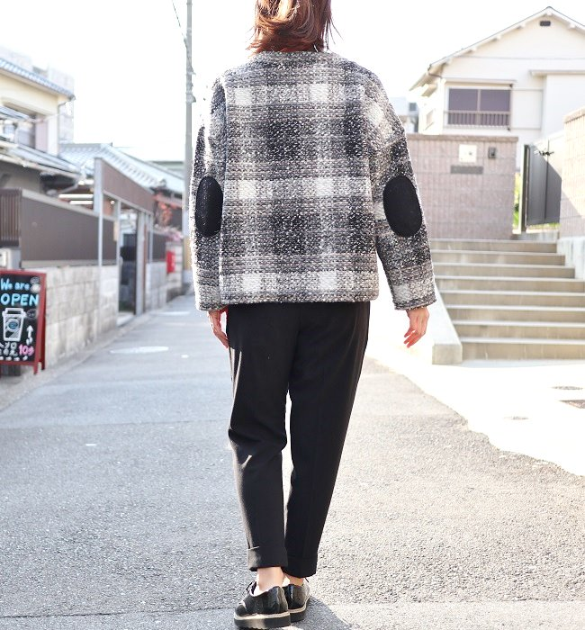 ichi ウール混チェックプルオーバー(GRAY/BEIGE)