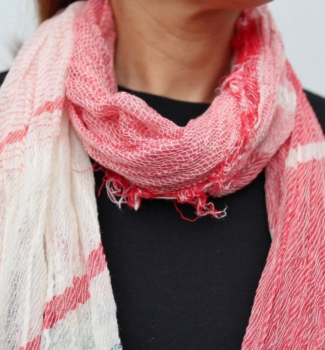 tamaki niime roots shawl middle cotton(RD)