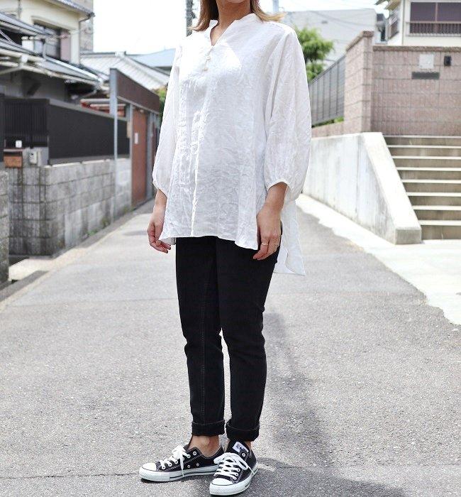 YARRA フレンチリネンスキッパー7分袖PO(オフホワイト/ライトグリーン)