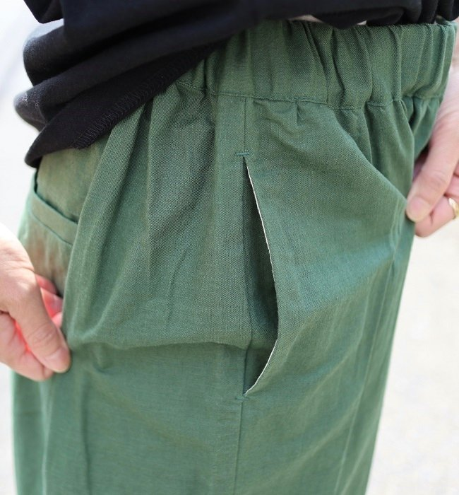LE CIEL 綿麻裾ギャザーパンツ