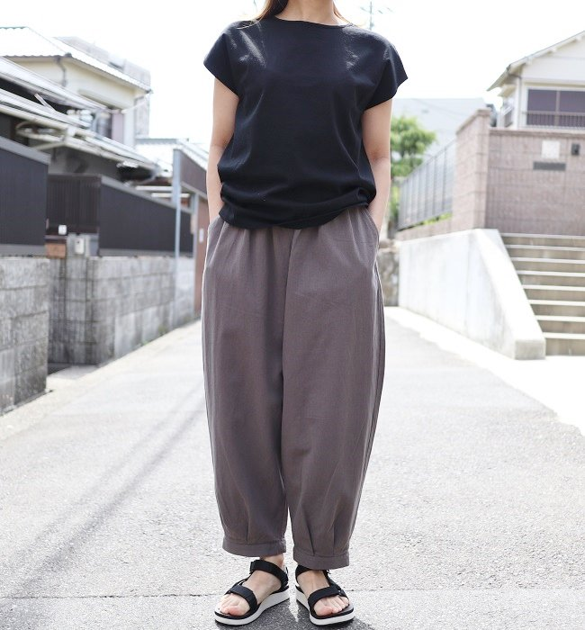 LE CIEL 綿麻裾タックPT(ベージュ/チャコール)