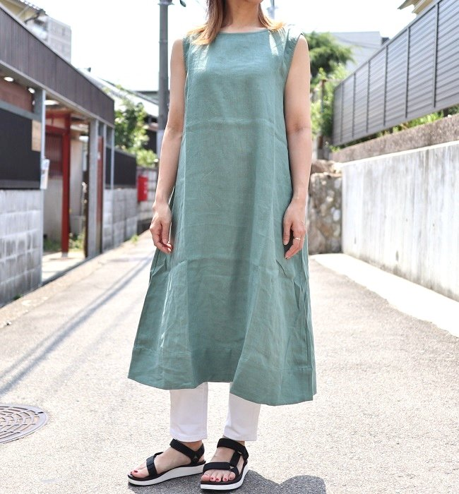 YARRA リトアニアリネンノースリーブOP(PINK/GREEN/GRAY)