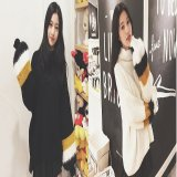 韓国ファッション ドルマンニット バルーンスリーブ ハイネック セーター ブラック ホワイト 黒 白
