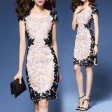 韓国ドレス 花柄刺繍 Aライン スリムワンピース ミモレ丈 膝丈 ひざ丈 大きいサイズ