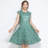 韓国ドレス ボタニカル 花形 グリーン フレンチ袖 レイヤード パーティースタイル 大きいサイズ XL 2XL