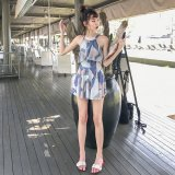 夏の海や旅行で着たいワンピース水着 パッチワーク柄のホルターネックが可愛いレディースビキニ