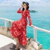 フィッシュテールスカートが可愛いロング丈の韓国ワンピース 花柄デザインが素的なマキシワンピース