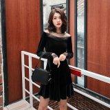 上品な女性にぴったりな黒色の韓国ドレス デコルテレースがエレガントな韓国ワンピース