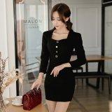 フロントのボタンが可愛い黒の韓国ワンピース ナイトシーンで似合うブラックドレス