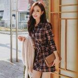 トレンドのチェック柄のシャツワンピース ウエストリボンが可愛い韓国ワンピース