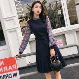 チェック柄の袖が可愛い韓国ワンピース フレアスカートが素的な韓国ドレス