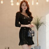 フロントボタンが可愛い韓国ワンピース お呼ばれやナイトシーンで着たい韓国ドレス
