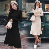 プリーツスカートが可愛いお嬢様ワンピース 秋冬に着たいシンプルな韓国ドレス